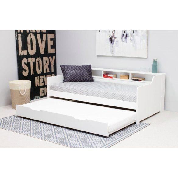 Bora fehér ágy, polcokkal, vendégággyal, ágyráccsal. Magas Német minőség, most AKCIÓBAN! Raktárról azonnal elvihető!