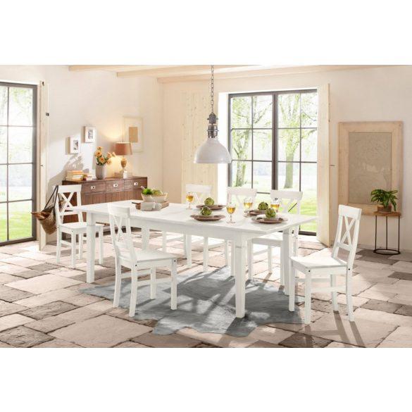 Étkezőasztal (Madrid) Fehér 140-180/75  kinyitható bővíthető, tömör fenyő  Magas német minőség raktárról azonnal elvihető!