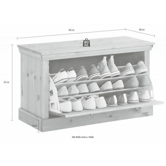 Basilico Fehér/szürke cipős szekrény, tömör fenyőből. Magas Német minőség most kedvezménnyel, azonnal elvihető!