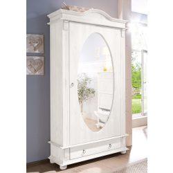 Fehér ruhásszekrény, (FIRENZE) tükrös, 98/45/202 cm, Magas Német prémium minőség, most extra akcióban! Raktárról azonnal!