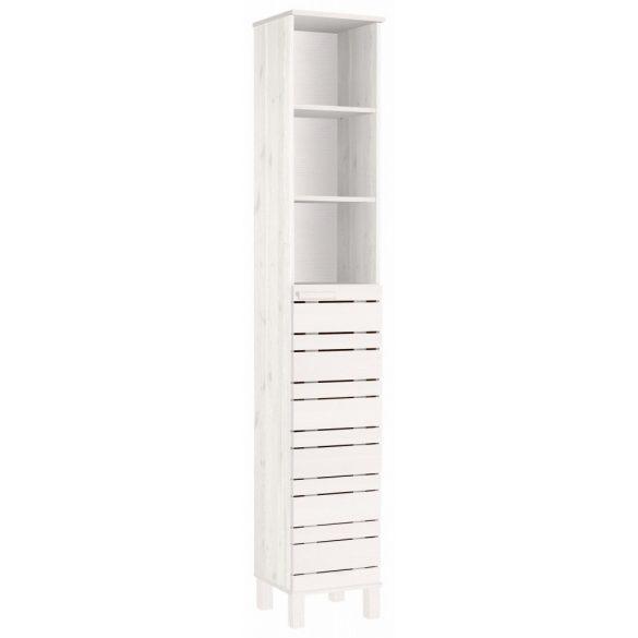 Jossy fehér magas fürdőszoba szekrény, tömör fából. Magas Német minőség AKCIÓBAN. Raktárról azonnal elvihető