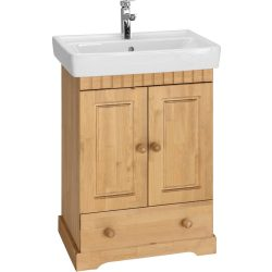 POEL fürdőszoba szekrény mosdóval. Tömör fából, most AKCIÓBAN. Raktárról azonnal elvihető!