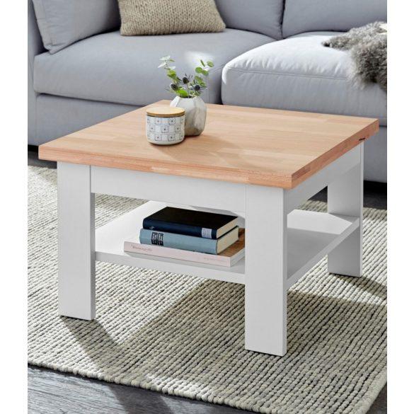 Milánó dohányzó asztal, 70 cm, fehér/bükk színben, bükk asztallappal. Magas minőség, most AKCIÓBAN. Azonnal elvihető!