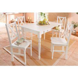 Noah fehér étkező garnitúra, 105/80 cm + 4 szék. Német minőség, tömör fából, most AKCIÓBAN. Raktárról azonnal elvihető!