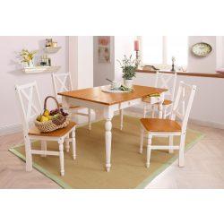 Noah Fehér/Méz színű étkező garnitúra, 120/80 cm + 4 szék. Német minőség, tömör fából, most AKCIÓBAN. Raktárról azonnal elvihető!