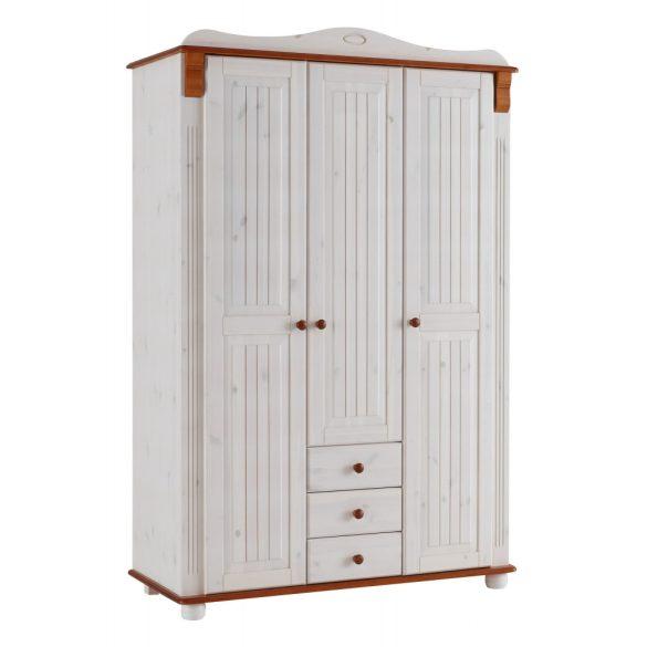 Fenyő szekrény, gardrob (ADELE) Német minőség, fehér/Cseresznye színben, most AKCIÓBAN! Raktárról azonnal elvihető!