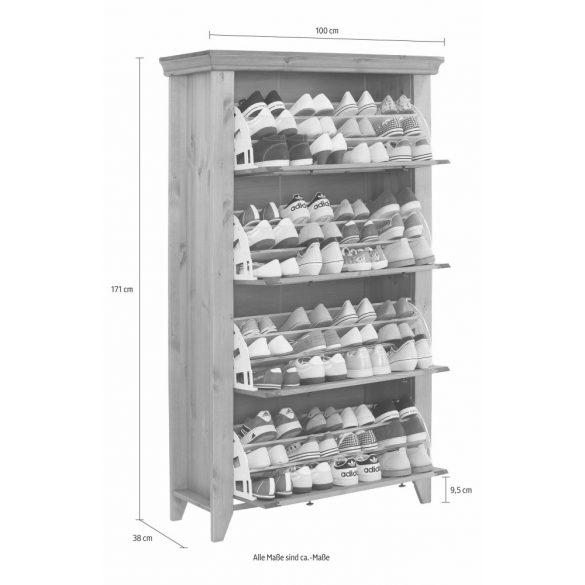 Fenyő cipős szekrény. 4 ajtós (SKANDI)  INGYENES SZÁLLÍTÁSSAL. Magas Német minőség Borovi fenyőből.