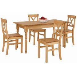 Fenyő étkező garnitúra 5 részes, bővíthető asztallal 140/199 cm. Német minőség. AKCIÓBAN. tömör fenyőből. Azonnal elvihető!