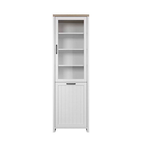Verla 2 ajtós vitrines szekrény, fehér/tölgy köves színben ABS élekkel. Most akcióval!