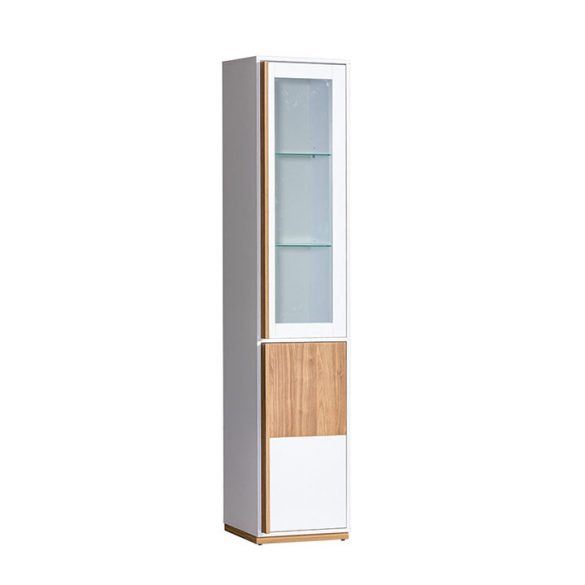 Vitrines szekrény (KNOX) dió/fehér színben, 196,4 cm magas. Kiváló minőség AKCIÓVAL!