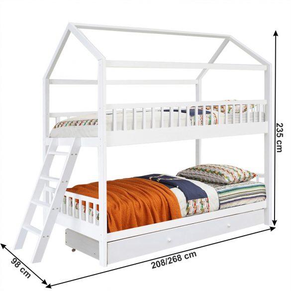Fenyő emeletes ágy 90 (EVALIA) ágyneműtartóval, ágyráccsal fehér színben, fa mintával. Magas minőség most AKCIÓBAN!