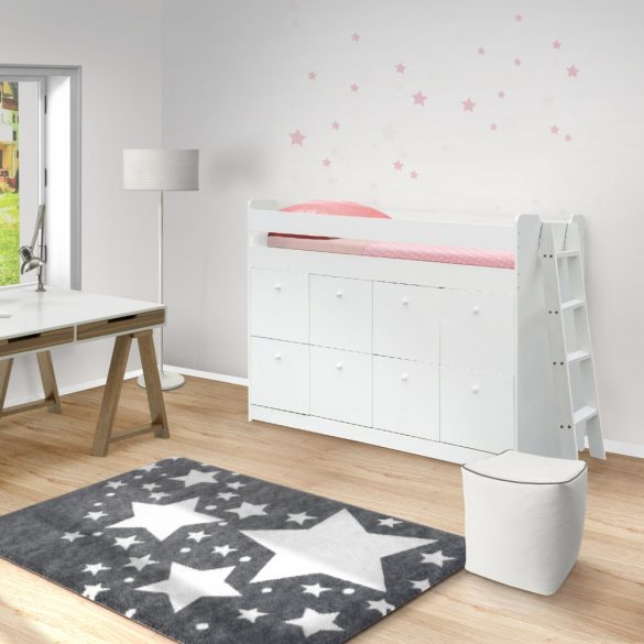 Jenara magasított tömör fenyőfa ágy 90 cm, 8 fiókkal, ágyráccsal, fehér színben. Magas minőség!