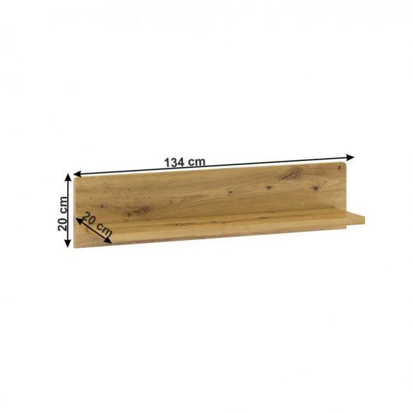 Modern fali polc (ERIDAN) tölgy színben, 86 cm széles. MAGAS  MINŐSÉGBEN, MOST AKCIÓBAN.