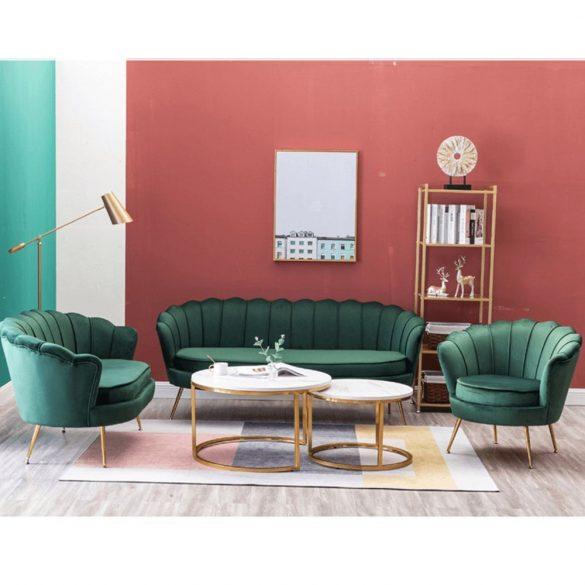 Stílusos pad (Noblin) Art-deco stílusban, smaragd bársonyszövet anyag/gold króm-arany színben. Magas minőség most AKCIÓBAN!