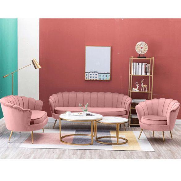 Stílusos pad (Noblin) Art-deco stílusban, rózsaszín bársonyszövet anyag/gold króm-arany színben. Magas minőség most AKCIÓBAN!