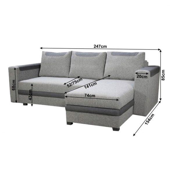 Sarok ülőgarnitúra (BON033) INGYENES SZÁLLÍTÁSSAL! Ágyfunkcióval és ágyneműtartóval, 3 díszpárnával.